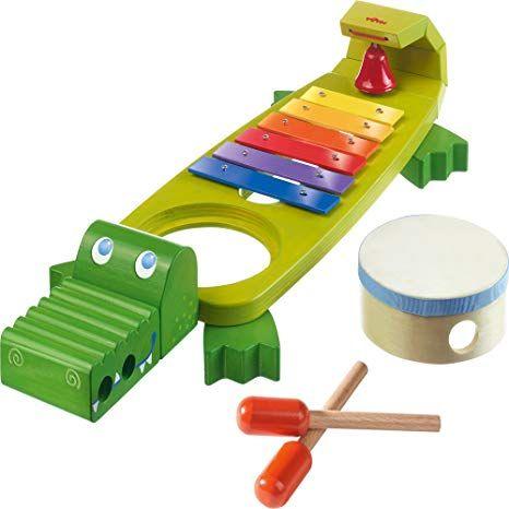 Haba 302566 Klapper Krokodil Mit 4 Spannenden Klanginstrumenten Werbung Musikspielzeug Haba Haba Spielzeug
