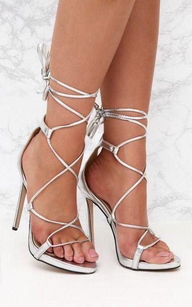 Heels, Lace up heels, Silver high heels
