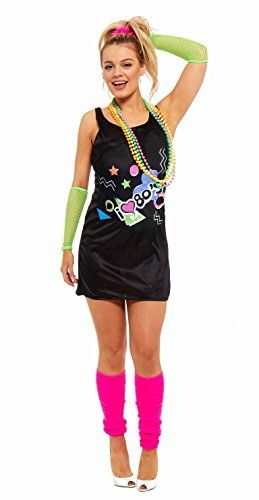 New Ladies I Love the 80/'s Dress 1980/'s Hen Festival Fancy Dress Costume Outfit