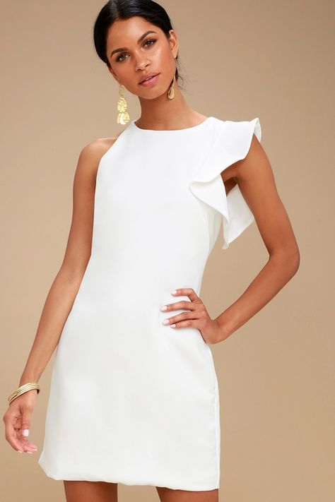 For a party perfect look just slip into the Dinah White One-Shoulder Dress and be on your way! Medium-weight, woven fabric creates a one-shoulder, rounded neckline, and a chic, ruffled short sleeve. Darted bodice and mini sheath skirt. Hidden back zipper/clasp.