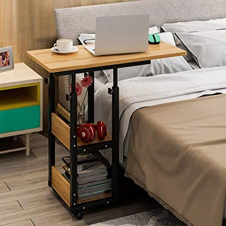 Overbed Laptop Table Adjustable Height 70 84cm With 2 Layers Storage Shelves Hospital Bed Dining Table Wi In 2020 Bed Table Adjustable Height Table Bed Table On Wheels