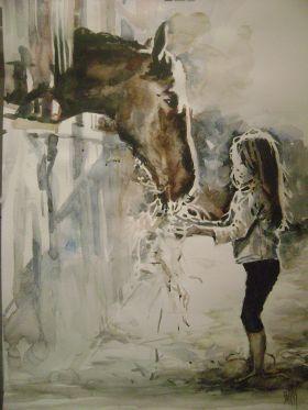 Verwonderlijk Paard met meisje geschilderd (met afbeeldingen) | Paard tekeningen KC-88