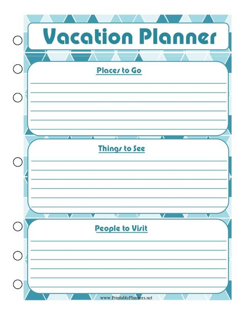 Fre Printable Vacation Planner Template Travel Templates