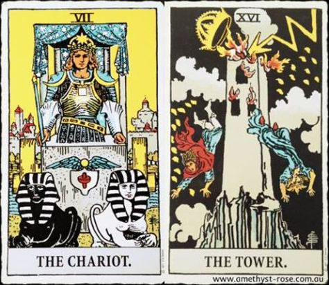 #TarotNumerology #Tarot #TheChariot #TheTower #EnergyOfTheDay #InsightsFromTheTarot #WisdomOfTheTarot #ARNAPSreadings    Having seen that things have to change you feel empowered to shake things up - you don't know where you're headed, but you know that you just can't stay where you are any longer.  Move on, harm none and feel the excitement as you take charge of your life.  💜 Vanda xx