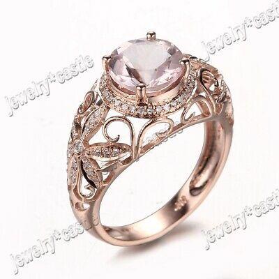 Ebay Ad Solid 10k Rose Gold Morganite Antique Filigree Diamond Jewelry Wedding Fine Ring Diamond Wedding Jewelry Silver Diamonds Gemstones