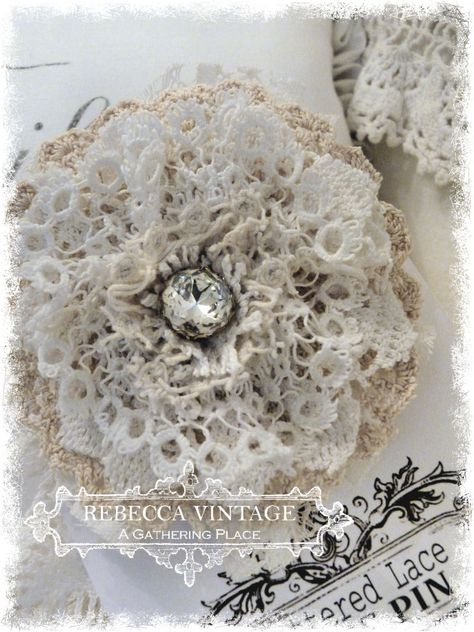 Vintage Lace Tattered Rose Pin 1 - Tattered Lace Roses - A Gathering Place