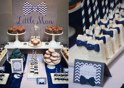 |Our Little Man Baby Shower | www.cwdistinctivedesigns.com | #bowtie #ricekrispietreats #desserttables