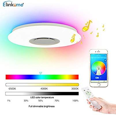 Elinkume Led Ceiling Light Dimmable Multi Colour 36w Bluetooth
