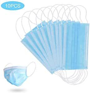 GerTong 10 PCS M/áscara Desechable M/áscara Anti-contaminaci/ón M/áscara Protectora de Filtraci/ón Multicapa M/áscaras Unisex Boca a Prueba de Polvo 3 Capas Azul
