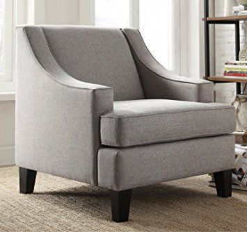Modern Gray Linen Fabric Upholstered Swoop Arm Chair Includes Modhaus Living Tm Pen Review Armchair Slipcovers For Chairs Chair