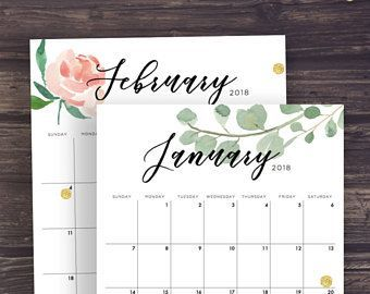 2018 Desk Calendar Printable Watercolor Botanical Floral Calendar
