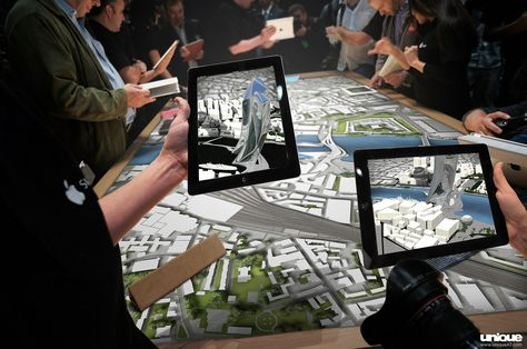 Augmented Reality masterplan app of London. This App is augmented with a 3D Model of the proposed new building, allowing the user to view the design in its future environment. #augmented_reality #masterplan #interactive_siteplan #virtual_reality