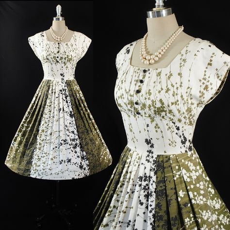 5beca318d075 Vintage 50s 60s VICKY VAUGHN Cotton Dress 1950s SUNDRESS Two Tone ...