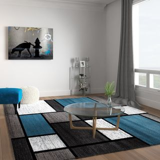 Contemporary Modern Boxes Blue Grey Area Rug 7 10 X 10 2 7 10