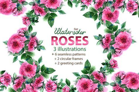 Watercolor roses set (20444)   Illustrations   Design Bundles