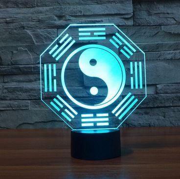 Lampe 3d Yin Yang Lampe Decoration Lampe 3d Jeux De Couleurs