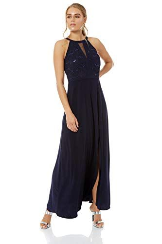 NAVY LACE SEQUIN EMBELLISHED HALTERNECK MAXI EVENING PARTY PROM GOWN DRESS SZ14