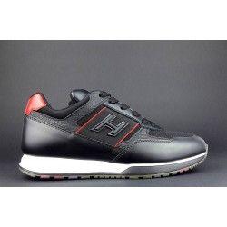 Hogan Sneakers H321 Uomo Pelle Tela Nera Prezzo 320 Sneakers Scarpe Per Uomini Tela Nera