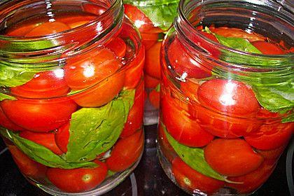 Eingekochte Cocktailtomaten Mit Basilikum 1 Tomaten Einkochen Einkochen Gemuse Einmachen