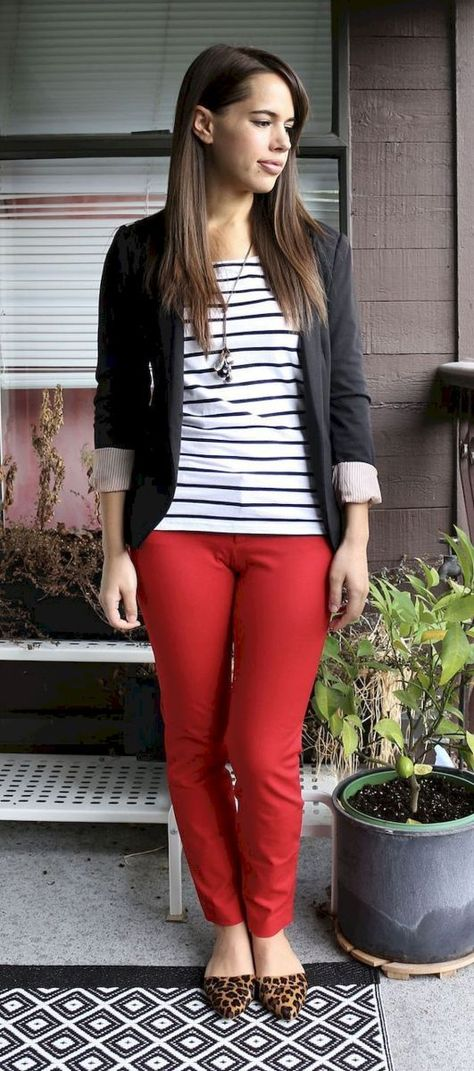 26 Trendy Business Casual Work Outfit for Women | Red pants