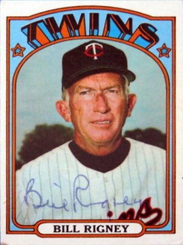 1972 Topps Bill Rigney Baseball Autographed Trading Card Baseball Trading Cards Baseball Cards Baseball