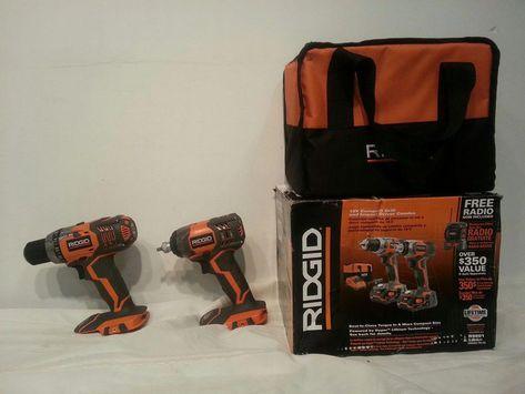 Ridgid 18 V Cordless Drill Impact Driver Combo Kit 2 Tool W O Battery Charger
