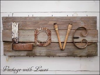 Upcycled Letters - Junky LOVE Sign vintagewithlaces.blogspot.com
