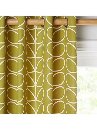Orla Kiely Linear Stem Pair Lined Eyelet Curtains Charcoal Charcoal Curtains Curtain Headings Orla Kiely Curtains