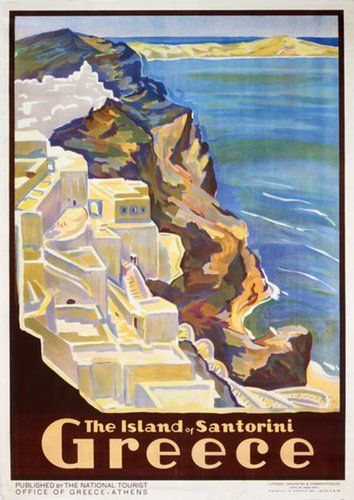 Original Vintage Poster Greece Santorino In 2020 With Images Vintage Travel Posters Vintage Beach Posters Vintage Posters