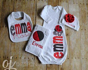 Baby Girl Newborn Gift NEW Baby Shower Gift Personalized Burp Cloths Red Monogram Burp Classic Baby Girl Red and Black Ladybug