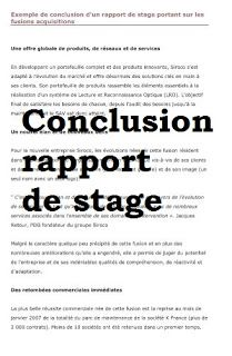 Conclusion Rapport De Stage Pdf Rapportstage Pfe