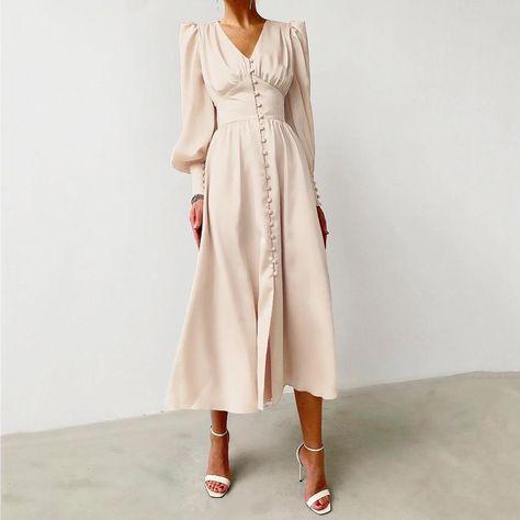 2021 Satin Women's Dress Cottage Vintage Style Slim dress - Beige / XS