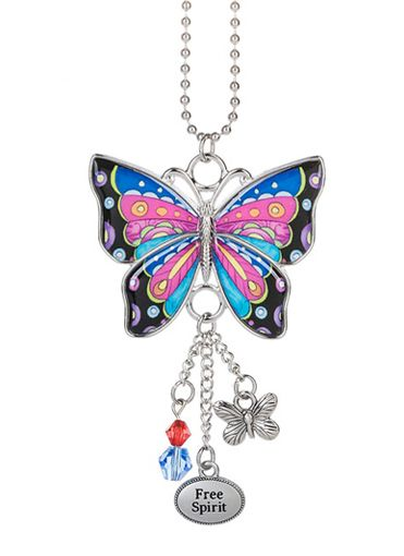 FLAMINGO Ganz Car Charm with Dangle Charms and Bead Chain for Rearview Mirror
