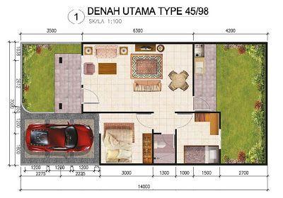 gambar skema rumah minimalis type 45/98   Denah rumah, Rumah minimalis,  Minimalis