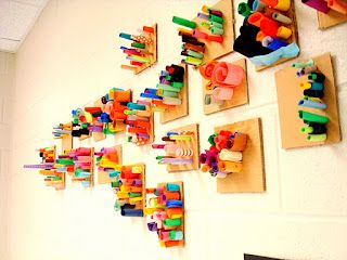 art actually: paper sculptures by kindergarten and first graders! Fantastic!