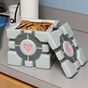 The Cake is a lie? No Worries, You can keep delicious cookies in your Companion Cube Cookie jar in case hunger strikes. -VintageandKind.com