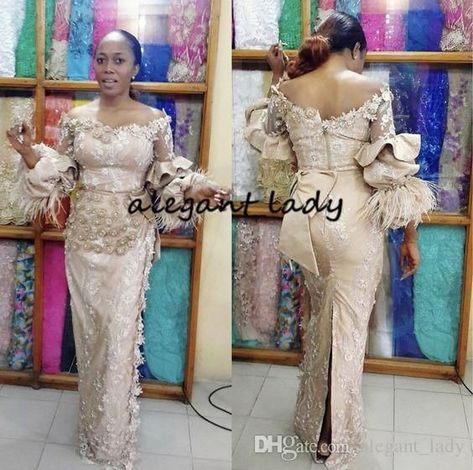 Champagne Long Sleeve Mermaid Evening Dresses 2019 Glamorous Aso Ebi Styles 3D Floral Feather...