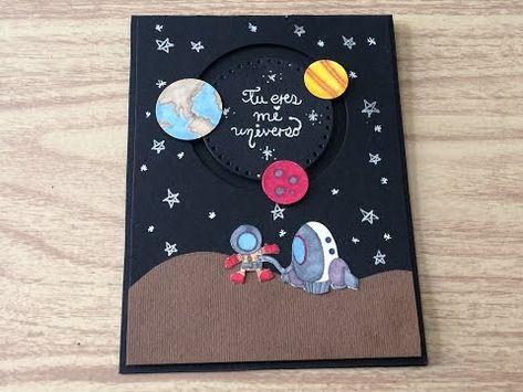 (61) DIY: Tarjeta espacial/cardmaking/estrellas/astronauta/ - YouTube