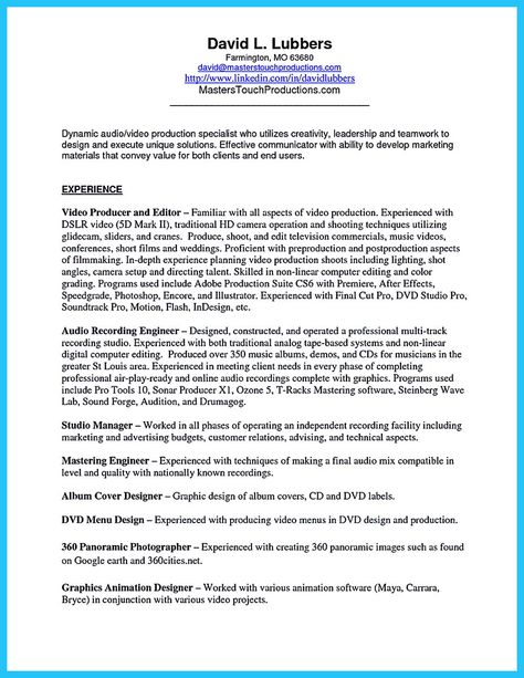 nice Crafting a Representative Audio Engineer Resume, Check more - audio engineer sample resume