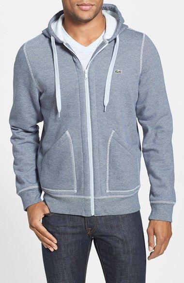 black lacoste zip up hoodie