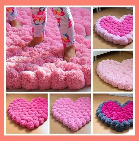 Heart Rug, Pom Pom Rug, Pompom Rug, Baby Room, Teen Room Carpet, Area Rug, Girly Room Decor, Soft Floor Rug, Pompom Rug, Choose Color | Pink Teenage Room | Pink Bedroom Designs For Small Rooms | Teenage Bedroom Color Schemes. #elegantglamdecor #Pom Pom rugs
