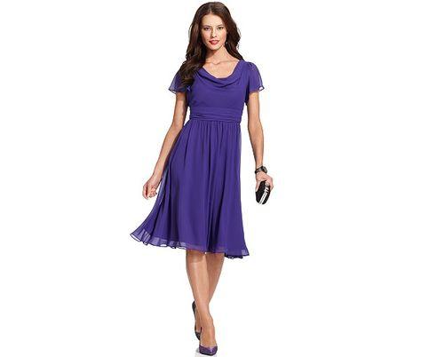 SL Fashions Short-Sleeve Cowl-Neck Dress - Dresses - Women - Macy's