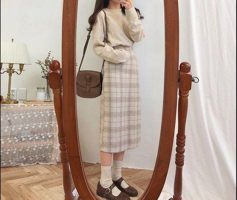 Dark Academia Clothing Plaid Vintage Spring Pencil MI-long Skirt For Female,Light Academia Retro Warm Thick Skirts For Your Minimal Style
