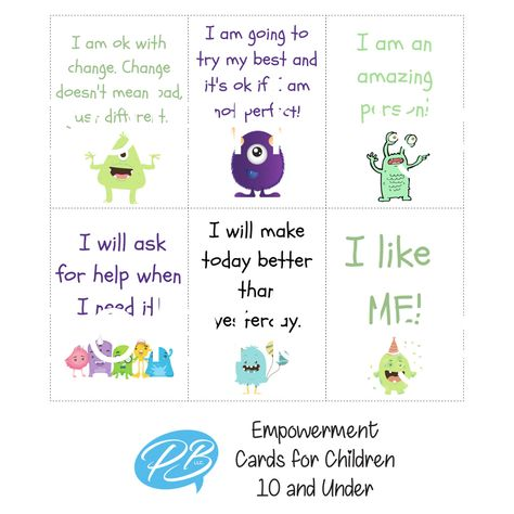 This silly monster set of 18 empowerment cards is geared towards children 10 and under. Includes a parental user guide. Please remember that these cards do not take the place of professional or medical help. Positive affirmations can have a powerful effect on kids! Expressing your love, admiration and confidence in them will help solidify their own feelings of self-worth and help them cope with difficult situations. Empowerment cards can help your your child build stronger character and stronger