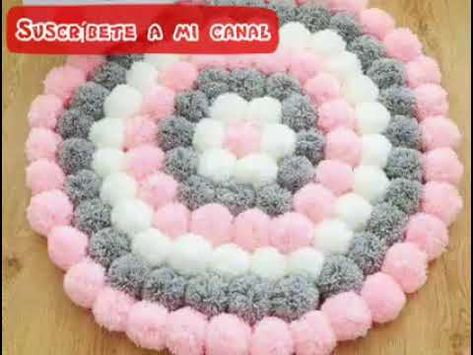 Tapetes Hechos con Pompones - YouTube