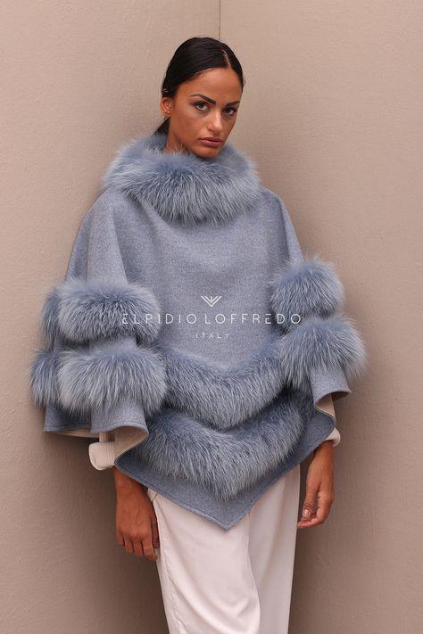 Сashmere Loro Piana Poncho with Fox fur and round collar - Elpidio Loffredo Furs