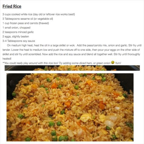 Easy Fried Rice Recipe i love fried rice and i love ot go to the japanese steak houses but its so expensive so i'm glad to find a way to make it myself. but i'm gonna make it with shrimp and without eggs cause i really don't like eggs.
