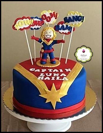 Capitana Marvel With Images Marvel Cake Marvel Birthday