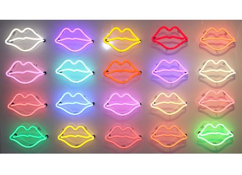 This is a 60 x 30 Neon Sign made out of a white glossy aluminum box with 20 neon lips of various colors.