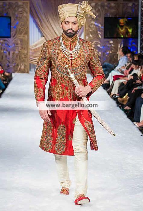 Polyester Raw Silk Sherwani  Color: Cadmium Red Fabric: Polyester Raw Silk Cad